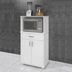 Armario de Cozinha para Microondas 2 Portas 1 Gaveta Benetil Moveis Branco