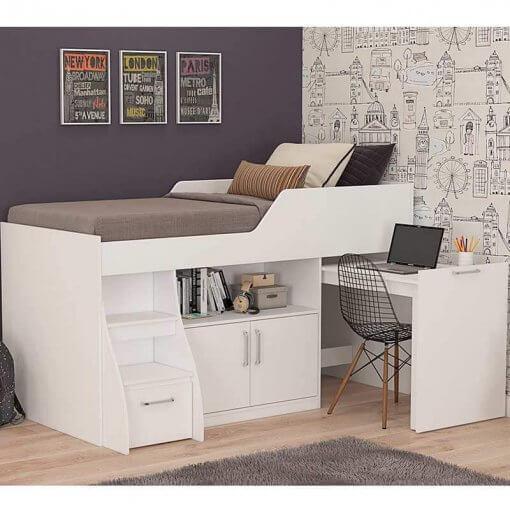 Cama Multifuncao Bianca MDF com 2 Portas 1 Gavetao Escrivaninha Cimol Branca