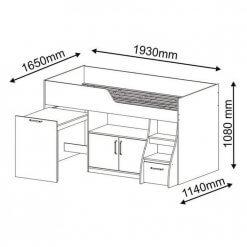 Cama Multifuncao Bianca MDF com 2 Portas 1 Gavetao e Escrivaninha