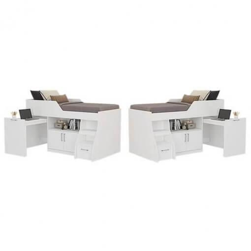 Cama Multifuncao Bianca MDF com 2 Portas 1 Gavetao e Escrivaninha Cimol