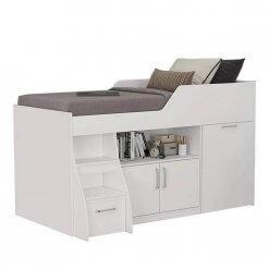 Cama Multifuncao Bianca MDF com 2 Portas 1 Gavetao e Escrivaninha Cimol Branca