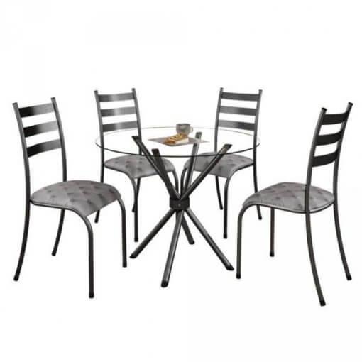 Conjunto Mesa com Tampo Vidro e 4 Cadeiras