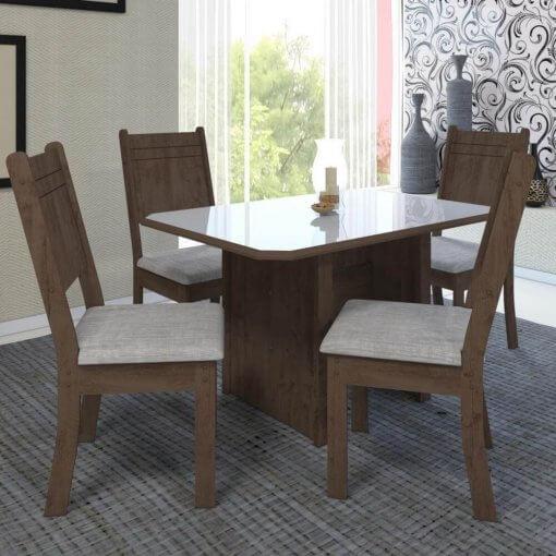 Conjunto Mesa de Jantar com 4 Cadeiras New Charm Indekes