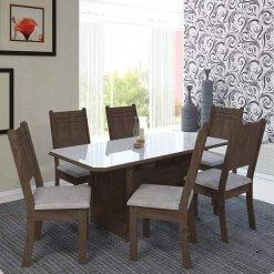 Conjunto Mesa de Jantar com 6 Cadeiras New Charm Indekes