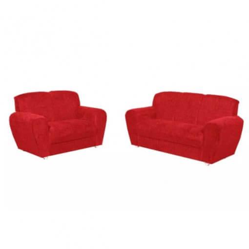 Conjunto Sofa 2 e 3 Lugares Saint Pierre Tecido Suede vermelho