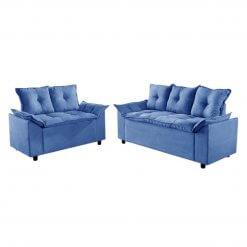 Conjunto Sofa 2 e 3 Lugares Tecido Suede Liones azul