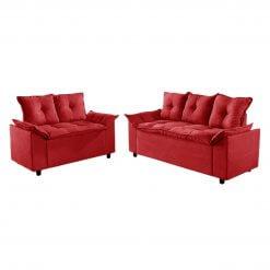 Conjunto Sofa 2 e 3 Lugares Tecido Suede Liones vermelho
