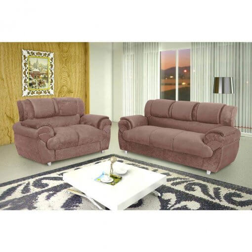 Sofa Conjunto com 2 e 3 Lugares Jogo em Tecido Suede 7025 Marrom