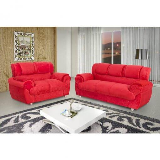 Sofa Conjunto com 2 e 3 Lugares Jogo em Tecido Suede 7025 Vermelho