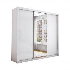 Guarda Roupa Casal com Espelho 3 Portas de Correr Berlim Branco