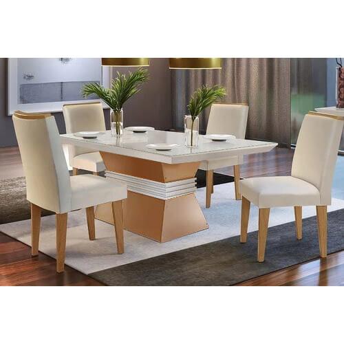 Mesa de Jantar 4 cadeiras Agatha 120cm Imbuia Off White
