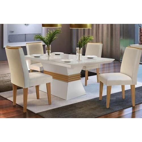 Mesa de Jantar 4 cadeiras Agatha 120cm Off White Imbuia