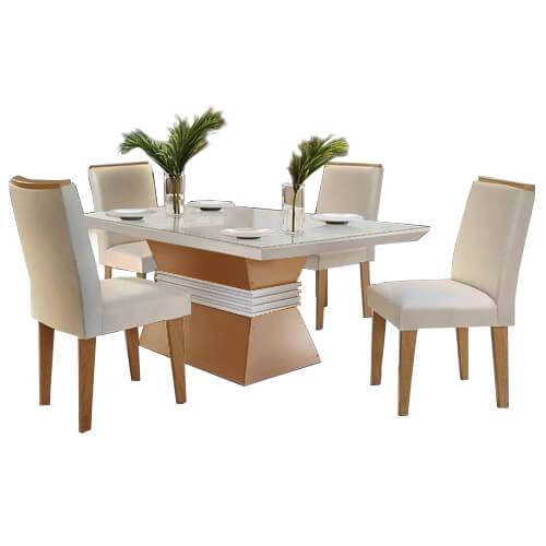 Mesa de Jantar 4 cadeiras Agatha 120cm