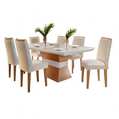 Mesa de Jantar 6 cadeiras Agatha 180cm Rufato Imbuia Off White