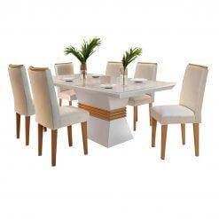 Mesa de Jantar 6 cadeiras Agatha 180cm Rufato Off White Imbuia