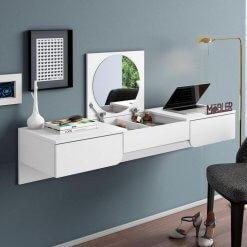 Penteadeira Escrivaninha Suspensa Elegance Branco Fosco