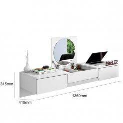 Penteadeira Escrivaninha Suspensa Elegance Branco Fosco Mobler Medidas