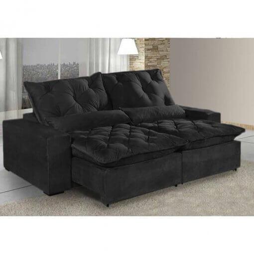 Sofa 4 Lugares Retratil E Reclinavel Elegance Tecido Suede 230cm