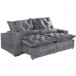 Sofa 4 Lugares Retratil E Reclinavel Elegance Tecido Suede 230cm Cinza