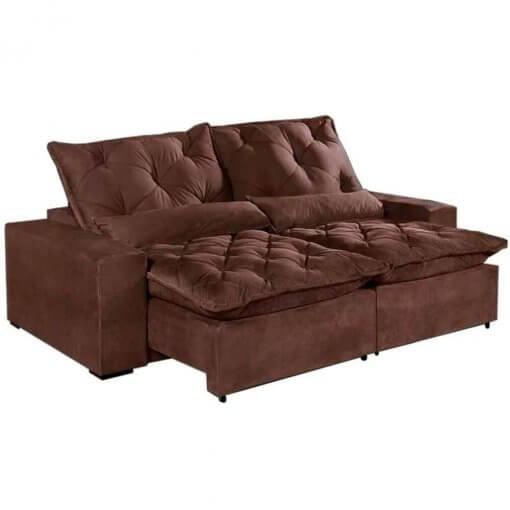 Sofa 4 Lugares Retratil E Reclinavel Elegance Tecido Suede 230cm Marrom