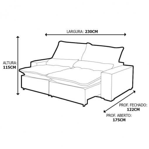 Sofa 4 Lugares Retratil E Reclinavel Elegance Tecido Suede 230cm Medidas