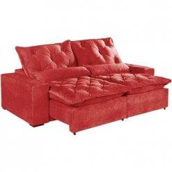 Sofa 4 Lugares Retratil E Reclinavel Elegance Tecido Suede 230cm Vermelho