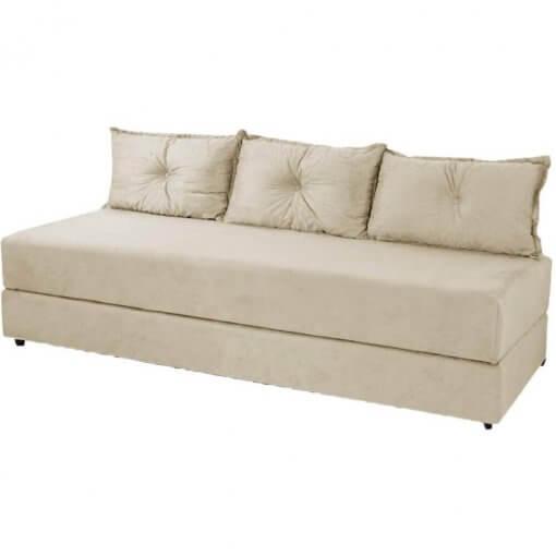 Sofa Cama Bicama 3 Lugares Casal Sofanete Suede Bege