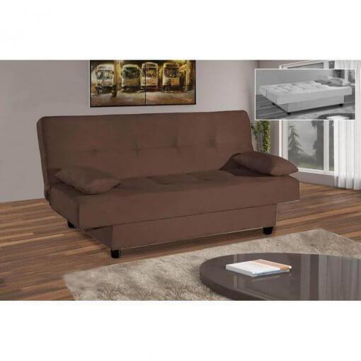 Sofa Cama Casal 3 Lugares com 2 Almofadas Turmalina marrom