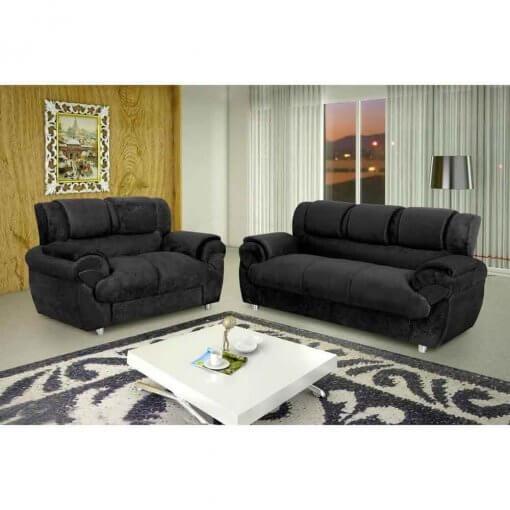 Sofa Conjunto com 2 e 3 Lugares Jogo em Tecido Suede 7025 Preto