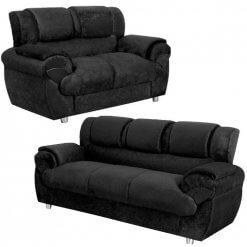 Sofa Conjunto com 2 e 3 Lugares Jogo em Tecido Suede preto 7025