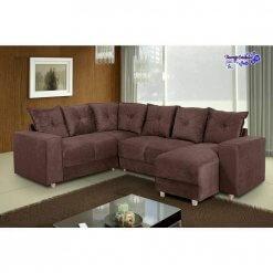 Sofa De Canto Com Chaise 6 Lugares 5070 Tecido Suede Almofadas Soltas Marrom