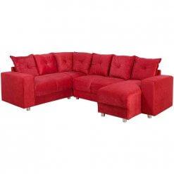 Sofa De Canto Com Chaise 5 Lugares 5070 Tecido Suede Almofadas Soltas Vermelho