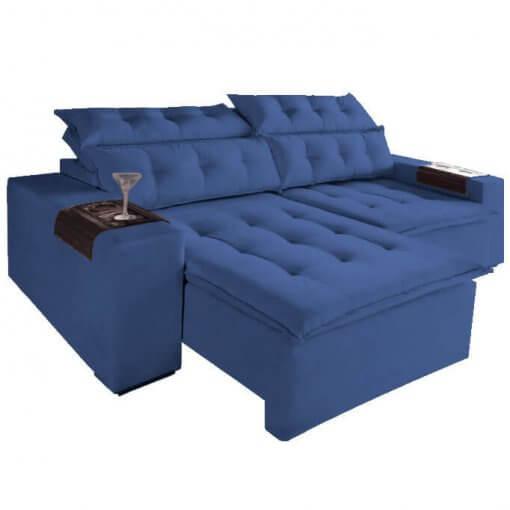 Sofa Retratil E Reclinavel Carioca 4 Lugares 230cm Tecido Suede Azul