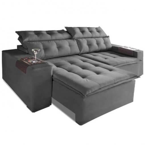 Sofa Retratil E Reclinavel Carioca 4 Lugares 230cm Tecido Suede Cinza