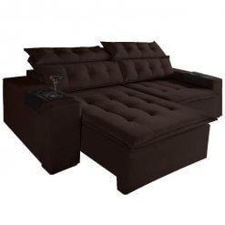 Sofa Retratil E Reclinavel Carioca 4 Lugares 230cm Tecido Suede Marrom Escuro