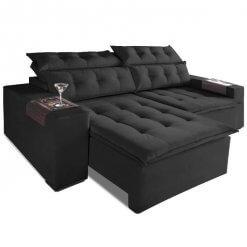Sofa Retratil E Reclinavel Carioca 4 Lugares 230cm Tecido Suede Preto