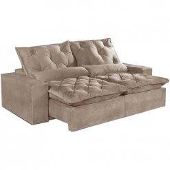 Sofa Retratil E Reclinavel Elegance Confort Tecido Suede 2 Metros Bege