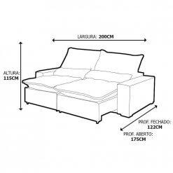 Sofa Retratil E Reclinavel Elegance Confort Tecido Suede 2 Metros Medidas