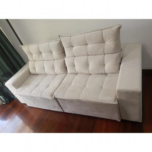 Sofa Retratil e Reclinavel Carioca Bege Foto Real