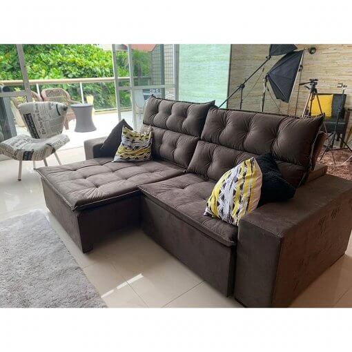 Sofa Retratil e Reclinavel Carioca Marrom foto real