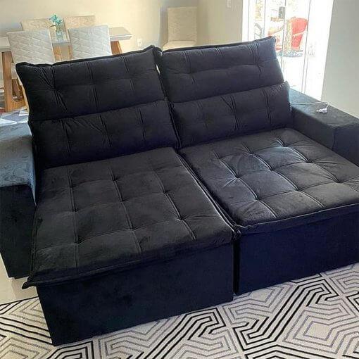 Sofa Retratil e Reclinavel Carioca Preto Foto Real