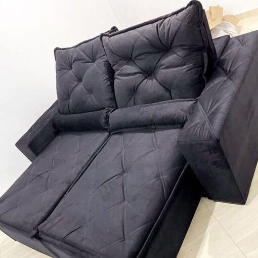 Sofa Retratil e Reclinavel Rio de Janeiro Preto Foto Real