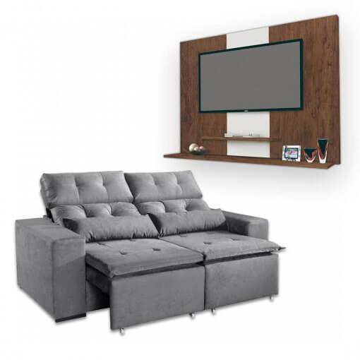 Sofa Retratil e Reclinavel Uba 2m + Painel DON Para TV ata 42 Polegadas Cinza Amendoa