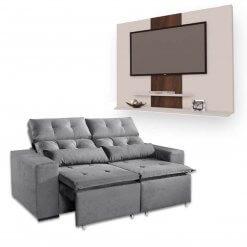 Sofa Retratil e Reclinavel Uba 2m + Painel DON Para TV ata 42 Polegadas Cinza Branco