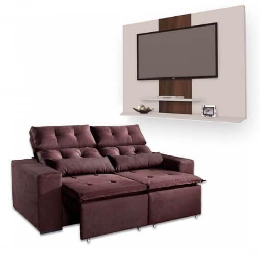 Sofa Retratil e Reclinavel Uba 2m + Painel DON Para TV ata 42 Polegadas Marrom Branco