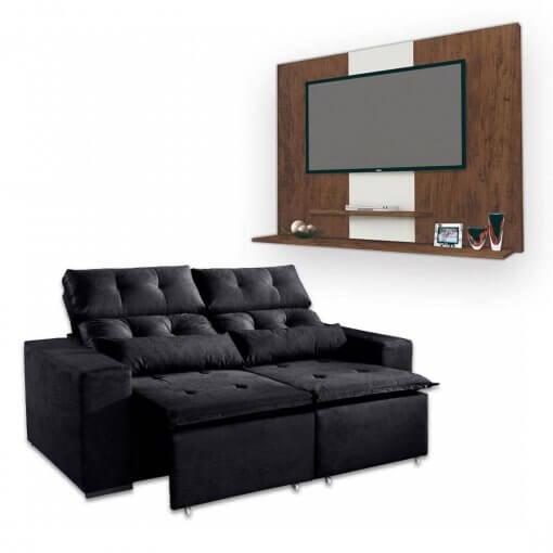 Sofa Retratil e Reclinavel Uba 2m + Painel DON Para TV ata 42 Polegadas Preto Amendoa
