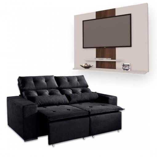 Sofa Retratil e Reclinavel Uba 2m + Painel DON Para TV ata 42 Polegadas Preto Branco