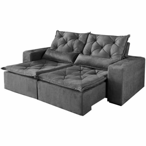 Sofa-Rio-de-Janeiro-Retratil-e-Reclinavel-de-2-Modulos-com-Tecido-Suede-cinza-sem-fundo