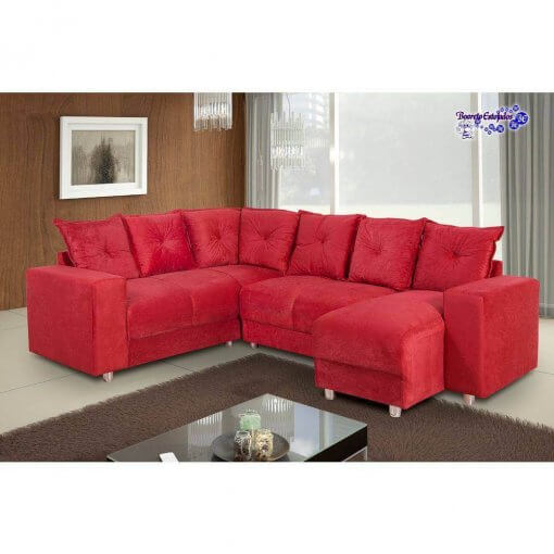 Sofa de Canto 5070 com Chaise 6 Lugares Suede e Almofadas Soltas vermelho ambiente