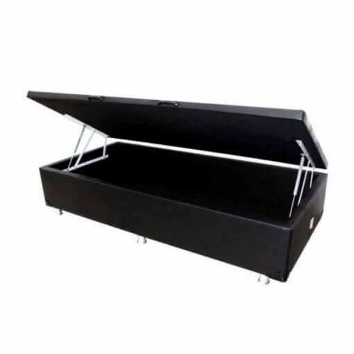 Base Box Com Bau Solteiro 36x88x188 Preta Corino
